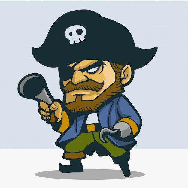 Netter einbeiniger pirat Premium Vektoren