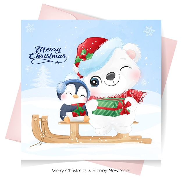 Netter eisbär und pinguin für weihnachtstag mit aquarellkarte Premium Vektoren