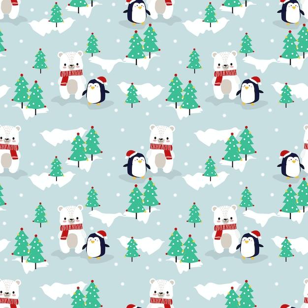 Netter eisbär und pinguin im nahtlosen muster der weihnachtsjahreszeit Premium Vektoren