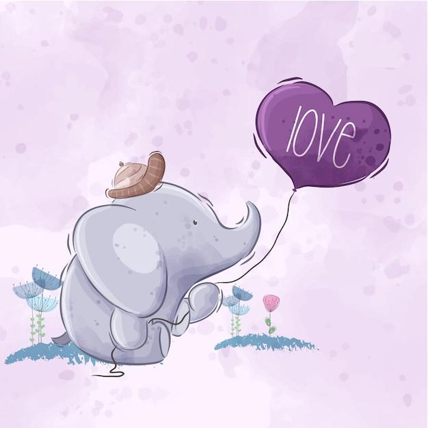 Netter elefant, der ballon hält Premium Vektoren