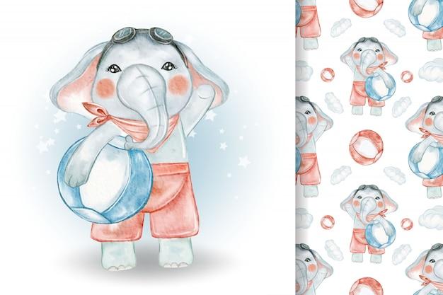 Netter elefant mit ballstrandaquarellillustration und -muster Premium Vektoren