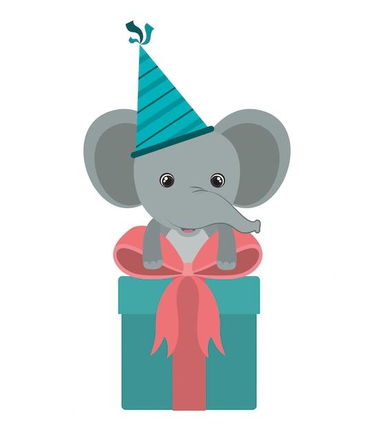 Netter elefant mit geschenkbox Premium Vektoren