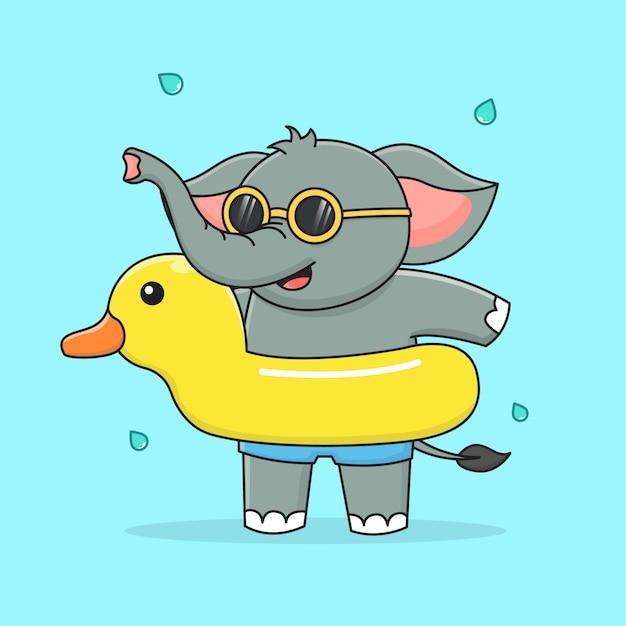 Netter elefant mit schwimmender gummiente und sonnenbrille Premium Vektoren
