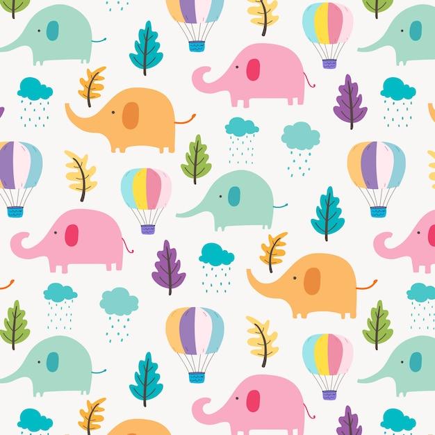 Netter elefant-muster-hintergrund für kinder. Premium Vektoren