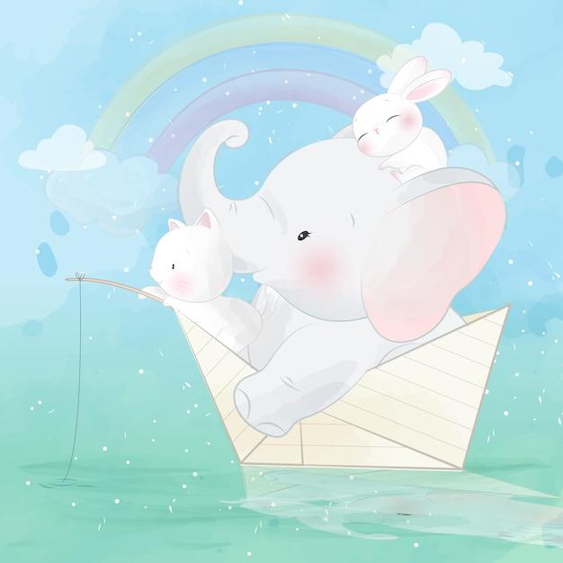 Netter elefant und freund innerhalb des papierbootes Premium Vektoren