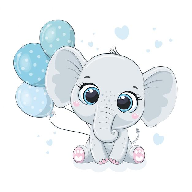 Netter elefantenbaby mit luftballons. Premium Vektoren