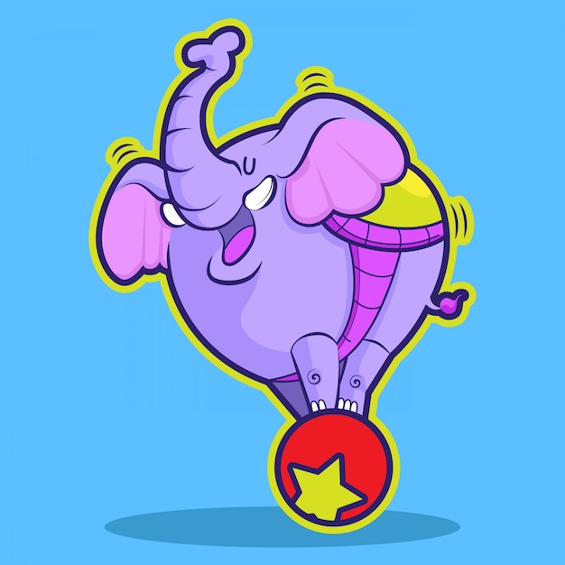 Netter elefantenzirkus, der ball spielt Premium Vektoren