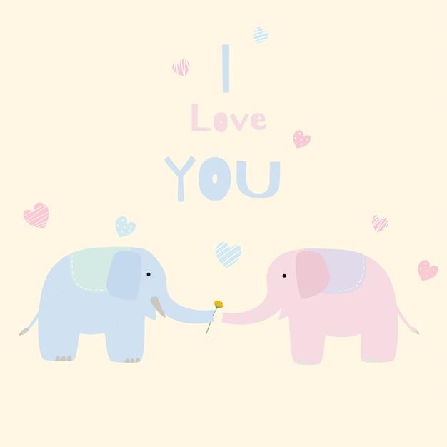 Netter elefantliebhaber Premium Vektoren