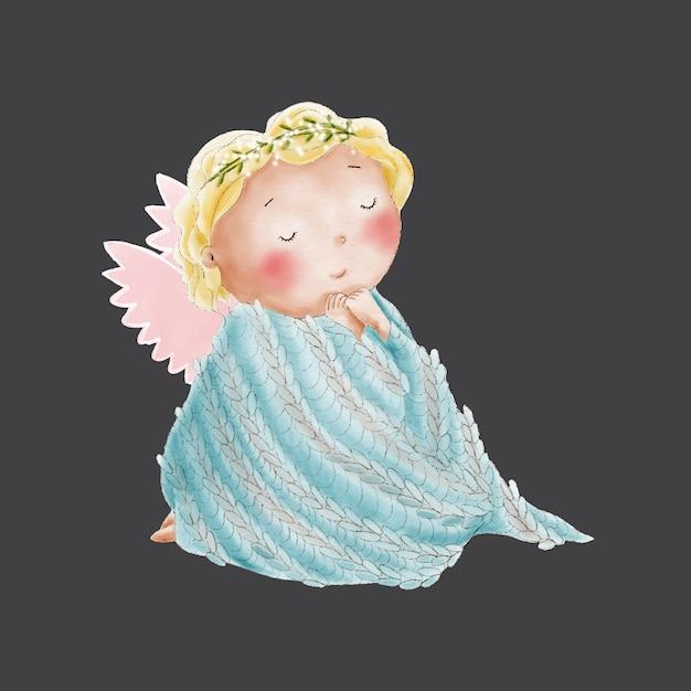 Netter engel des aquarells im gestrickten plaid Premium Vektoren