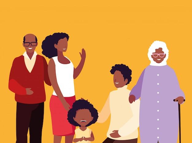 Netter familienmitglied-afroavataracharakter Premium Vektoren