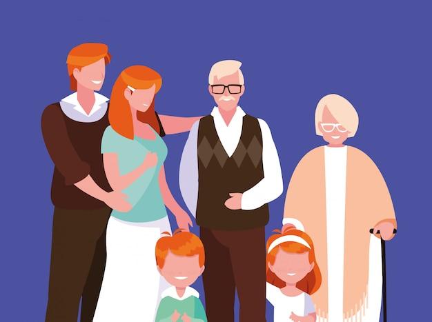 Netter familienmitgliedavataracharakter Premium Vektoren