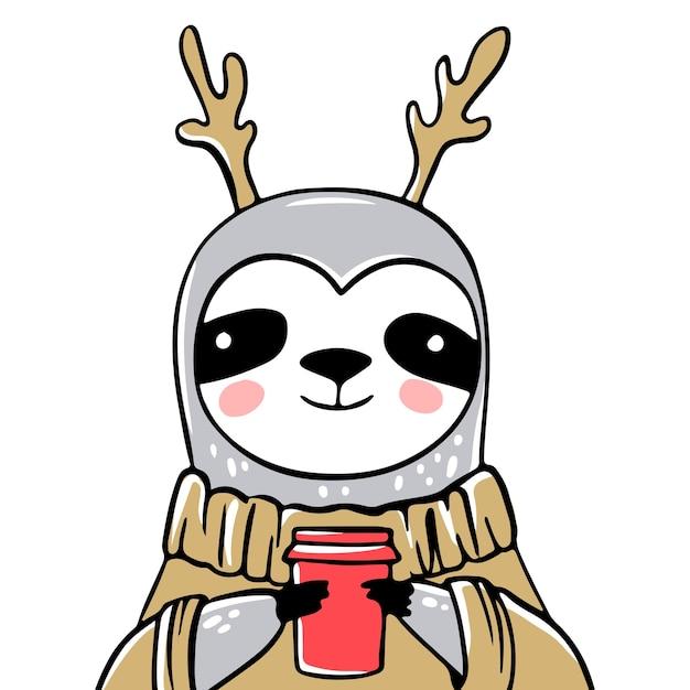 Netter faultierbär mit tasse kaffee, im hässlichen pullover oder im pullover. gekritzel, skizzenstil. weihnachtsgrußkarte. tiere lustiger charakter, fauler weihnachten. Premium Vektoren