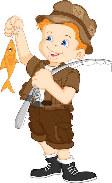 Netter fischerjunge Premium Vektoren