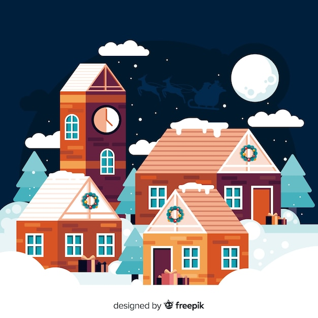 Netter flacher weihnachtshintergrund der kleinstadt Kostenlosen Vektoren