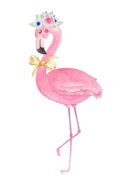 Netter flamingo mit blumenkrone und fliegeband, aquarellhand gezeichnete illustration. Premium Vektoren
