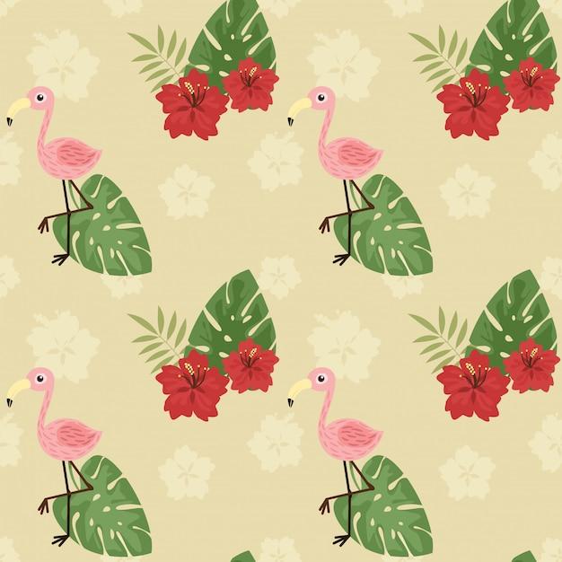 Netter flamingo und hibiscusblume des nahtlosen musters. Premium Vektoren