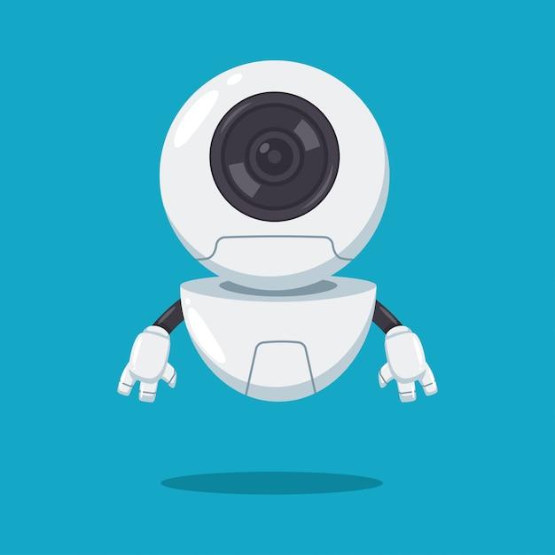 Netter fliegenroboter mit der flachen zeichentrickfilm-figur des linsenvektors lokalisiert auf hintergrund. Premium Vektoren