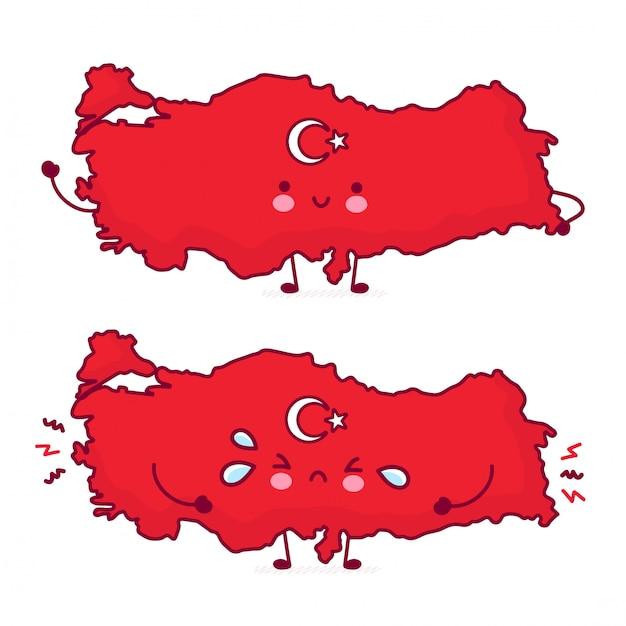 Netter fröhlicher und trauriger lustiger türkei-karten- und flaggencharakter. Premium Vektoren