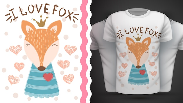 Netter fuchs - idee für druckt-shirt. Premium Vektoren