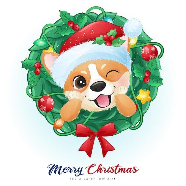 Netter gekritzel-corgi für weihnachtstag mit aquarellillustration Premium Vektoren