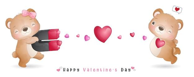 Netter gekritzelbär für valentinstagssammlung Premium Vektoren