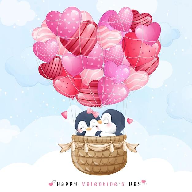 Netter gekritzelpinguin, der mit luftballon für valentinstag fliegt Premium Vektoren