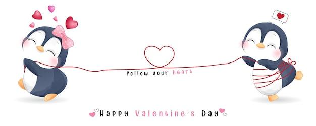 Netter gekritzelpinguin für valentinstagssammlung Premium Vektoren