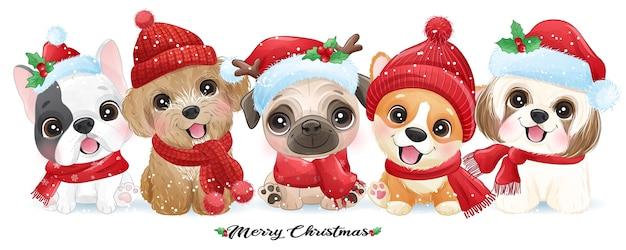 Netter gekritzelwelpe für weihnachten mit aquarellillustration Premium Vektoren