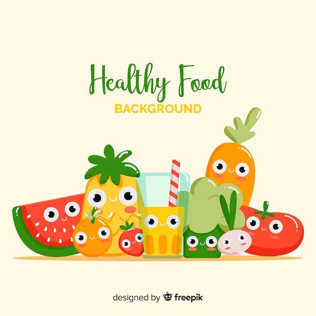 Netter gesunder nahrungsmittelhintergrund Kostenlosen Vektoren