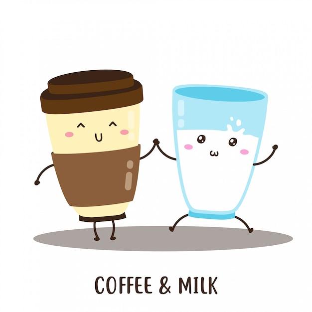 Netter glücklicher kaffee und frischer milchvektorentwurf Premium Vektoren