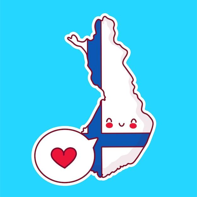 Netter glücklicher lustiger finnland-karten- und flaggencharakter mit herz in der sprechblase Premium Vektoren