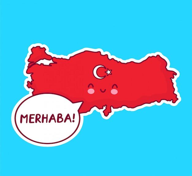 Netter glücklicher lustiger türkei-karten- und flaggencharakter mit merhaba-wort in der sprechblase. Premium Vektoren