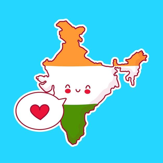 Netter glücklicher und trauriger lustiger indien-karten- und flaggencharakter mit herz in der sprechblase. linie karikatur kawaii charakter illustration symbol. indien-konzept Premium Vektoren