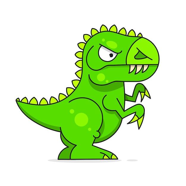 Netter grüner dinosaurier lokalisiert auf weißem hintergrund Premium Vektoren