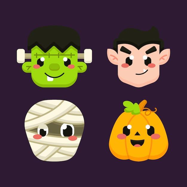 Netter halloween-avatarsatz Premium Vektoren