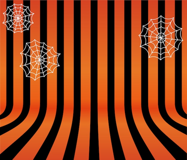Netter halloween-hintergrund mit spinnennetzen Premium Vektoren