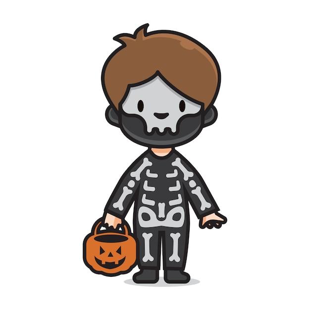 Netter halloween kostümschädel Premium Vektoren
