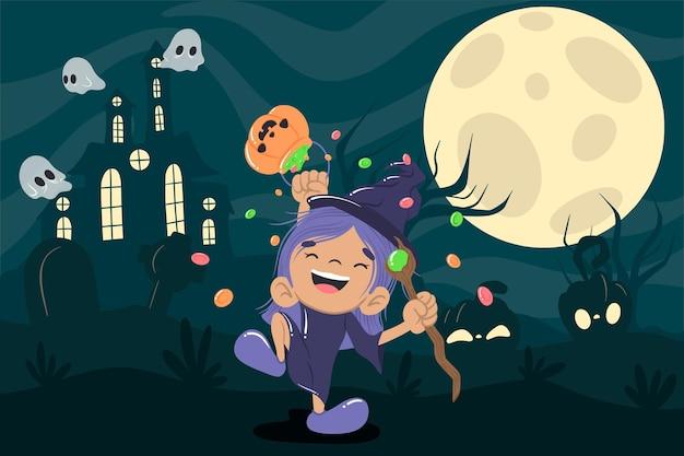 Netter hexen-halloween-hintergrund Premium Vektoren