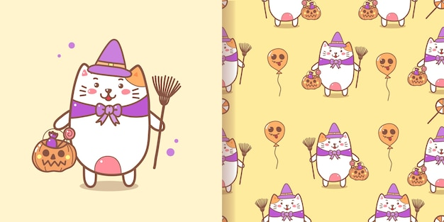 Netter hexenkatze nahtloser muster-halloween-hintergrund. Premium Vektoren