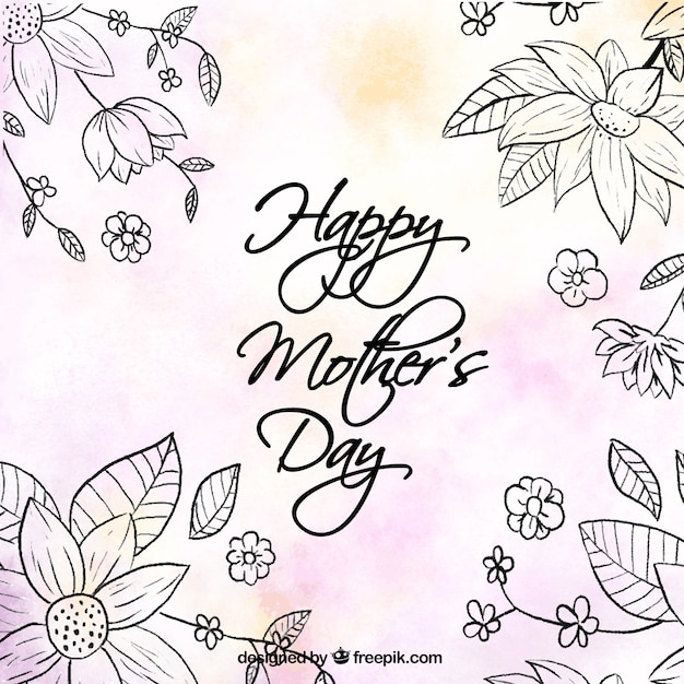 Netter Hintergrund mit Blumen und Farbdetails für Muttertag Kostenlose Vektoren