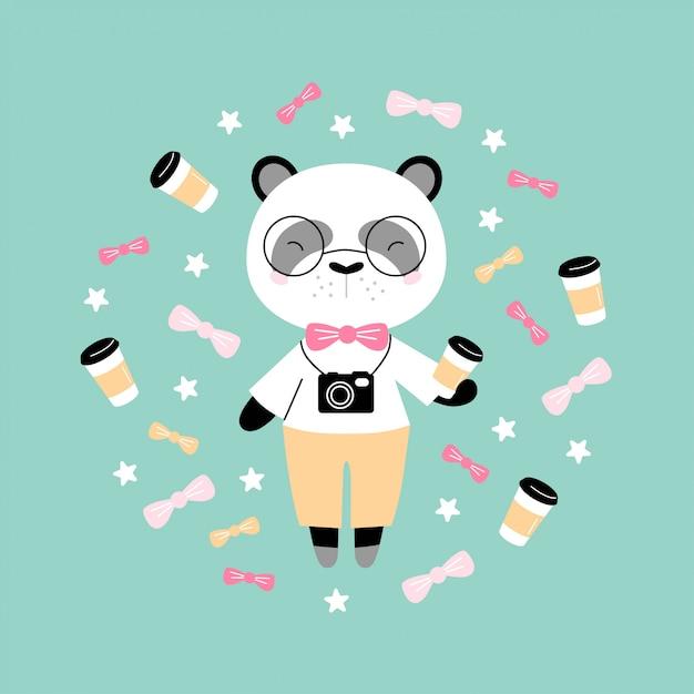 Netter hippie-panda mit kaffee und kamera Premium Vektoren