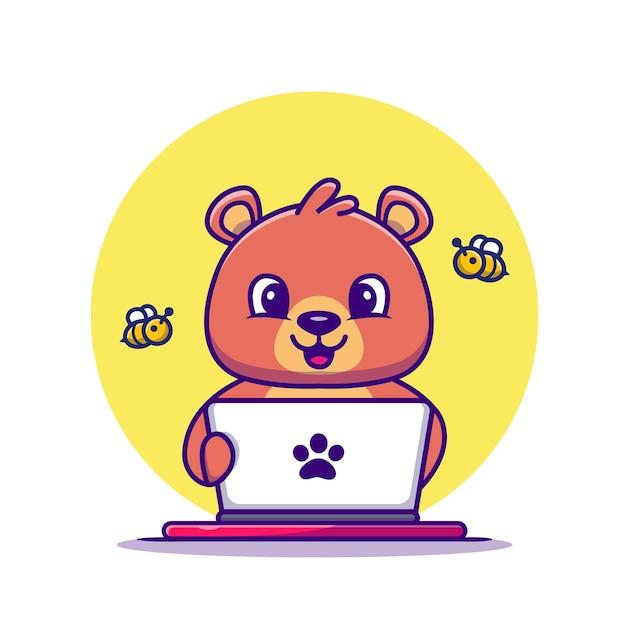 Netter honigbär, der laptop-cartoon-vektor-illustration betreibt. tier-technologie-konzept-isolierter vektor. flacher cartoon-stil Kostenlosen Vektoren