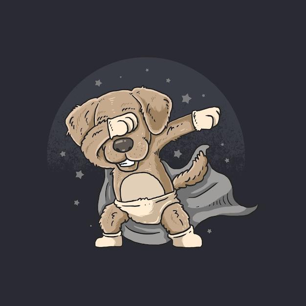 Netter hund, der tanz mit stern im himmel betupft Premium Vektoren
