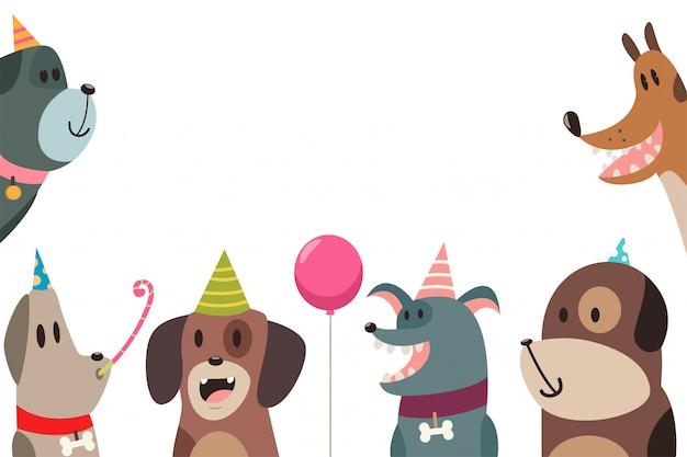 Netter hund in den partyhüten Premium Vektoren