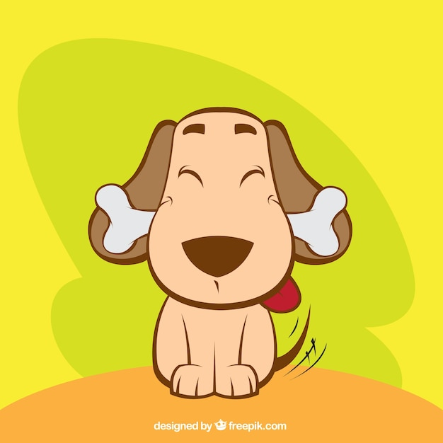 Netter Hund mit einem Knochen Kostenlose Vektoren