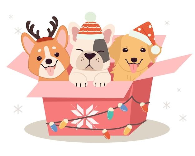 Netter hund und freunde, die in der geschenkbox sitzen Premium Vektoren