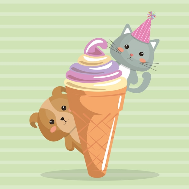 Netter hund und kat mit eiscreme kawaii geburtstagskarte Premium Vektoren
