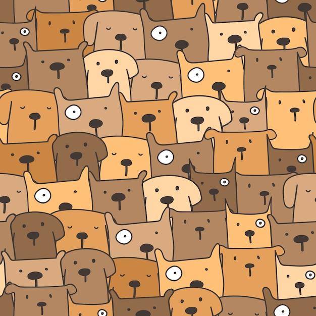 Netter hundenahtloser musterhintergrund Premium Vektoren