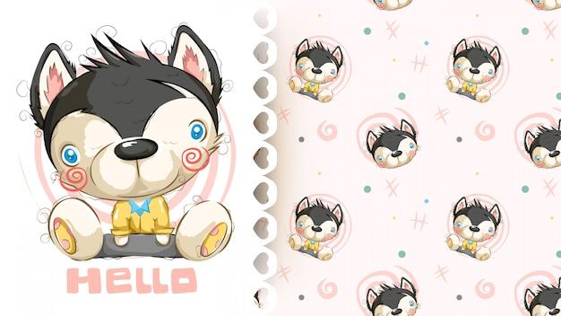 Netter hundesitzen und lächelndes nahtloses muster der karikatur Premium Vektoren