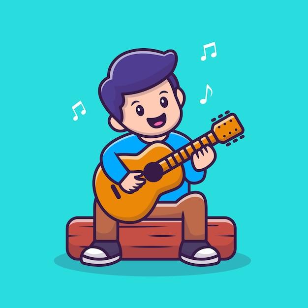 Netter junge, der gitarre cartoon vector illustration spielt. Premium Vektoren